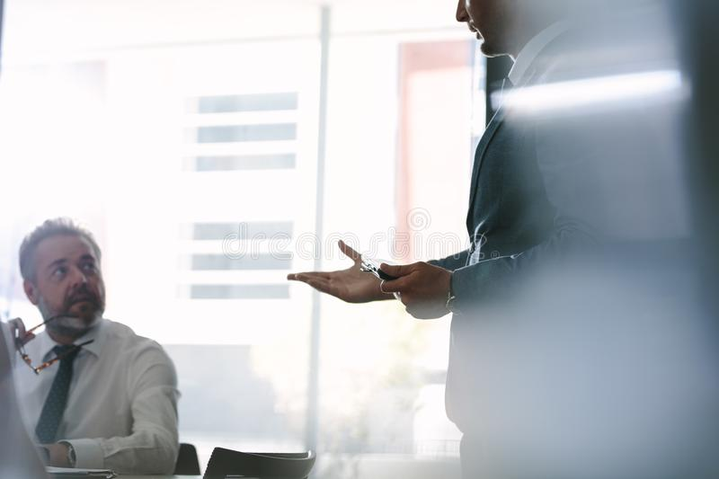Business colleagues discussing during a meeting stock photography