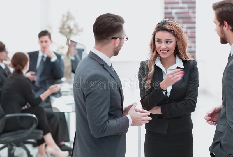 Business colleagues discussing problems in the office. Photo with copy space royalty free stock image