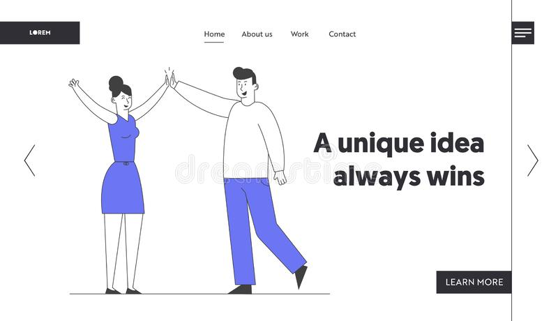 Business Colleagues Giving Highfive in Office Website Landing Page. Man and Woman Beating Hands Rejoice for Good Job. Successful Project Web Page Banner royalty free illustration