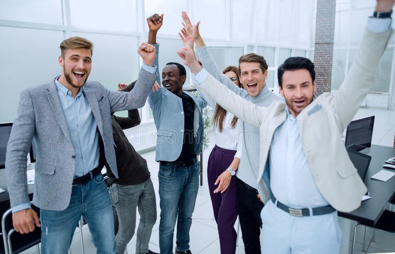 Business colleagues joining their hands together royalty free stock photos