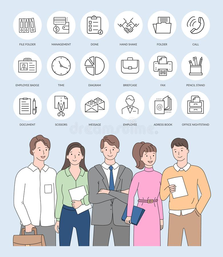 Business Colleagues and Web Design Icons 库存例证