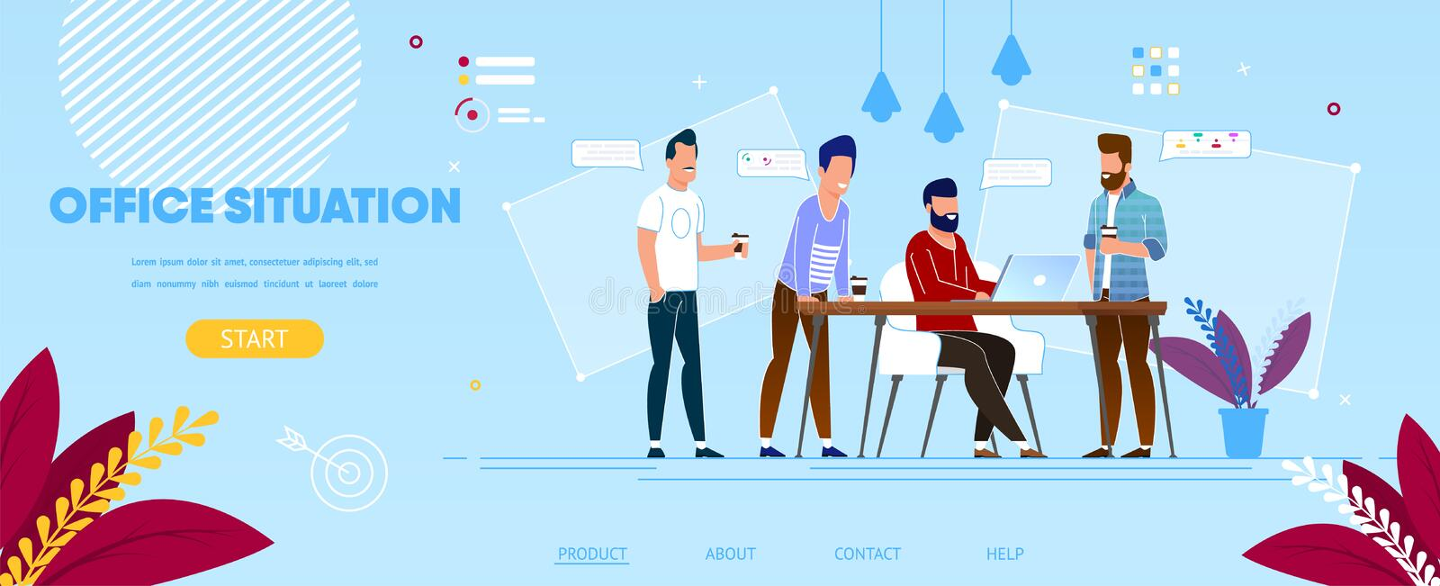 Business Colleagues at Working Process in Office. royalty free illustration