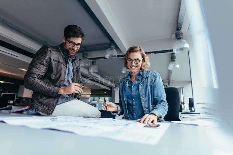 Business colleagues working together in office royalty free stock image
