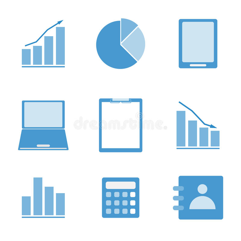 Business color icon set on white background