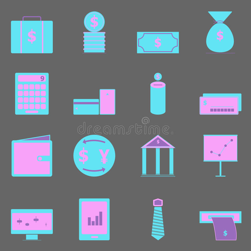 Download Business Color Icons On Gray Background Stock Vector - Image: 34667462