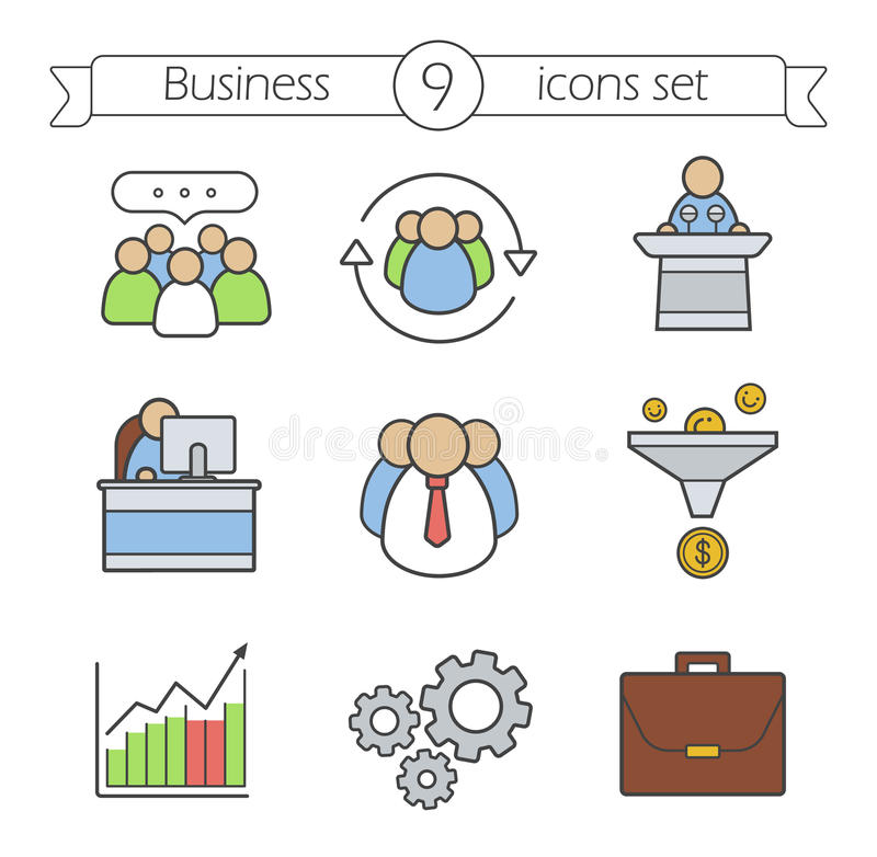 Business color icons set vector illustration