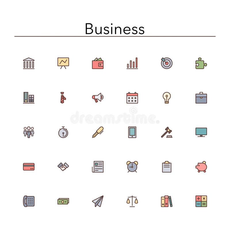 Business Colored Line Icons stock illustration