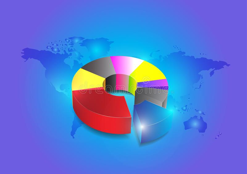 Business colorful pie chart for your documents on blue background. Is a general illustration royalty free illustration