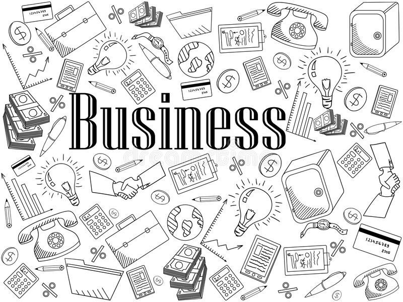 Business coloring book vector illustration royalty free illustration