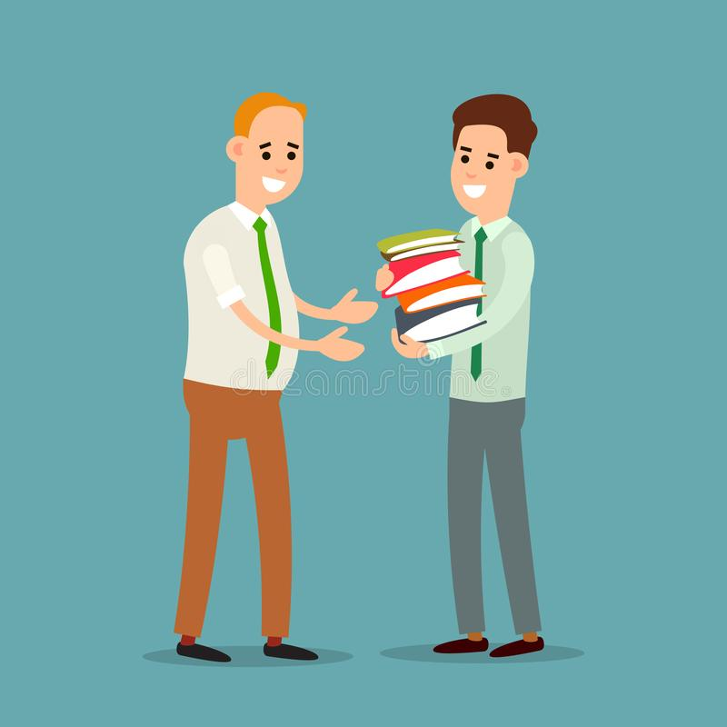 Business communication. Businessman transfers paper archive to an employee. Boss accepts documents from subordinate. Two stock illustration