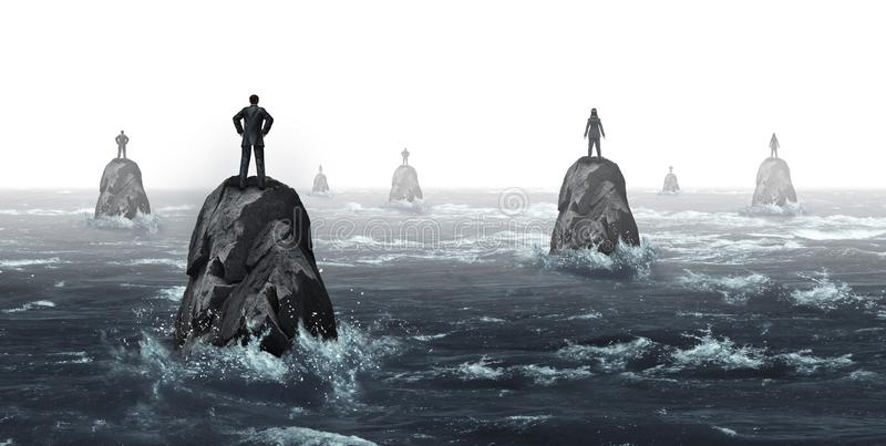 Business Communication Challenge. With businessmen and businesswomen with huge gaps as a corporate symbol for negotiation problems as businesspeople lost on stock illustration