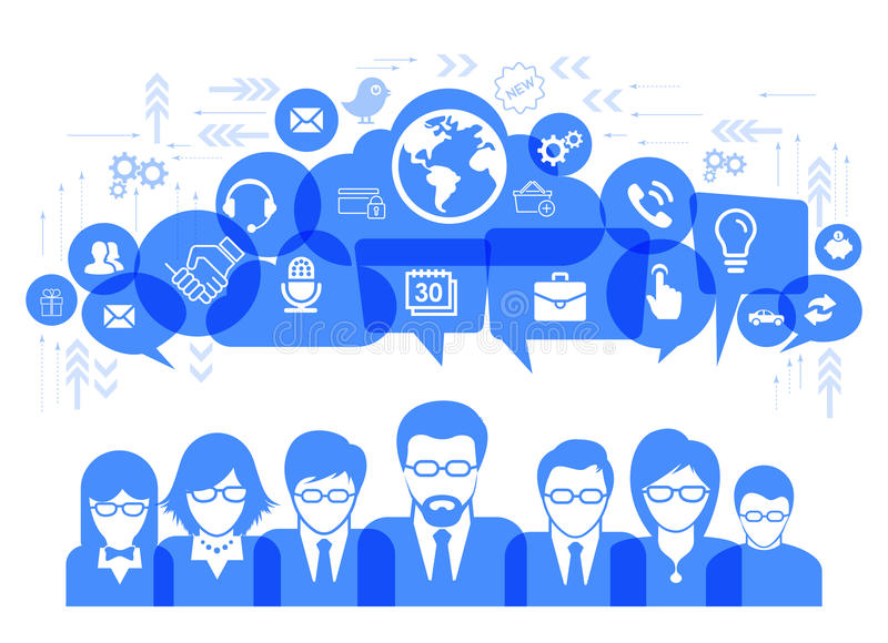 Business communication concept with media social icons vector illustration. Eps-10 royalty free illustration