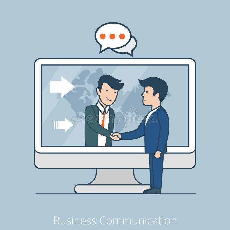 Business Communication Flat line art style busines. Teamwork Business Communication. Linear flat line art style business people concept. Conceptual vector illustration