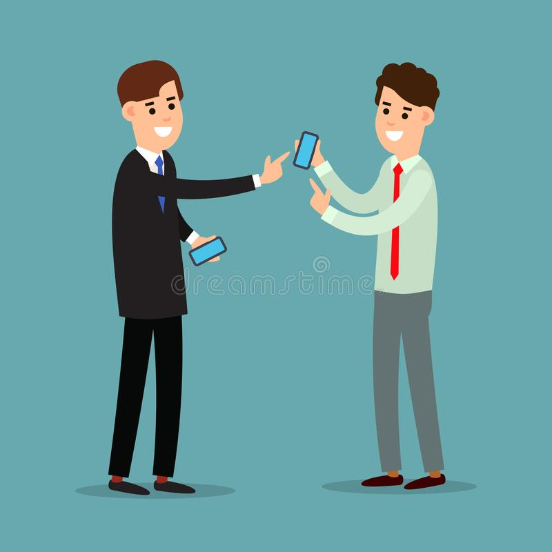 Business communication. Mobile connection, communication concept. Using phone in business. Two businessman working in office. vector illustration