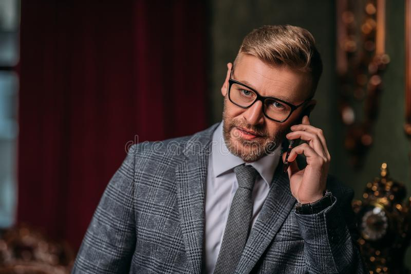 Business communication by phone royalty free stock image