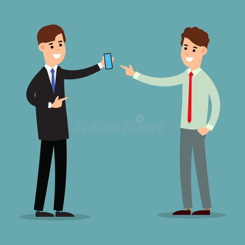 Business communication. Presentation business calling and connection. Using phone in business. Two businessman working in office. vector illustration