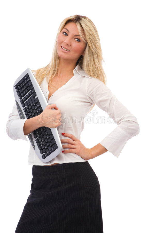 Business communications. Concept with a businesswoman and keyboard stock photos