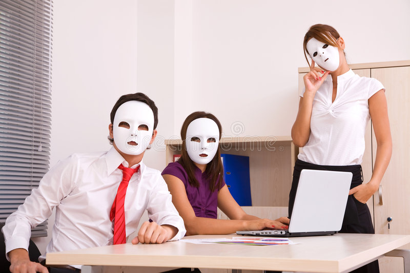 Business communications. Concept with people and masks royalty free stock photos