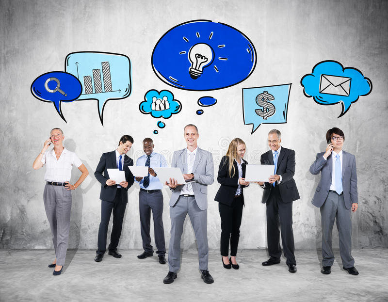 Business Communications Group with Icons.  stock photography