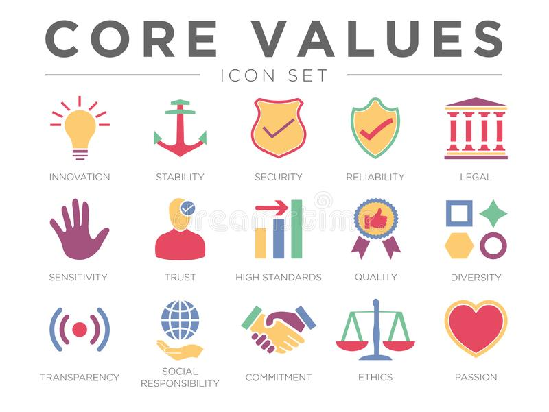Business Company Core Values Color Icon Set. Innovation, Stability, Security, Reliability, Legal, Sensitivity, Trust, Standard, vector illustration