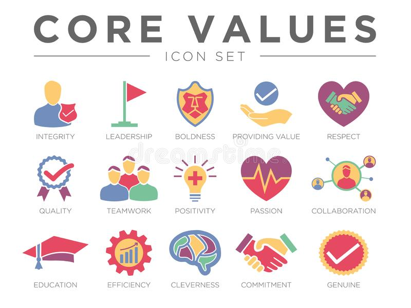 Business Company Core Values Color Icon Set. Integrity, Leadership, Boldness, Value, Respect, Quality, Teamwork, Positivity, royalty free illustration
