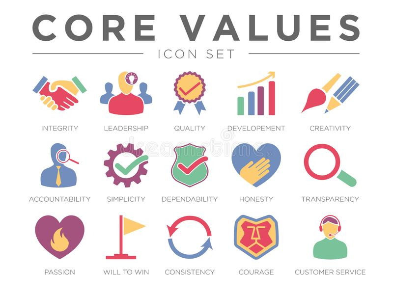 Business Company Core Values Color Icon Set. Integrity, Leadership, Quality, Developement, Creativity, Accountability, Simplicity royalty free illustration