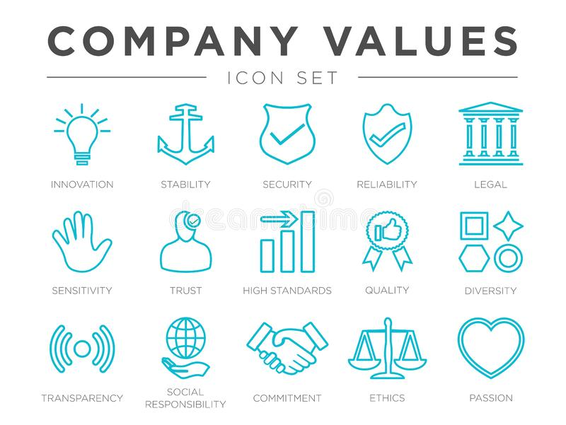 Business Company Core Values Outline Icon Set. Innovation, Stability, Security, Reliability, Legal and Sensitivity, Trust, High vector illustration