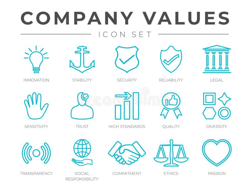 Business Company Core Values Outline Icon Set. Innovation, Stability, Security, Reliability, Legal and Sensitivity, Trust, High stock illustration