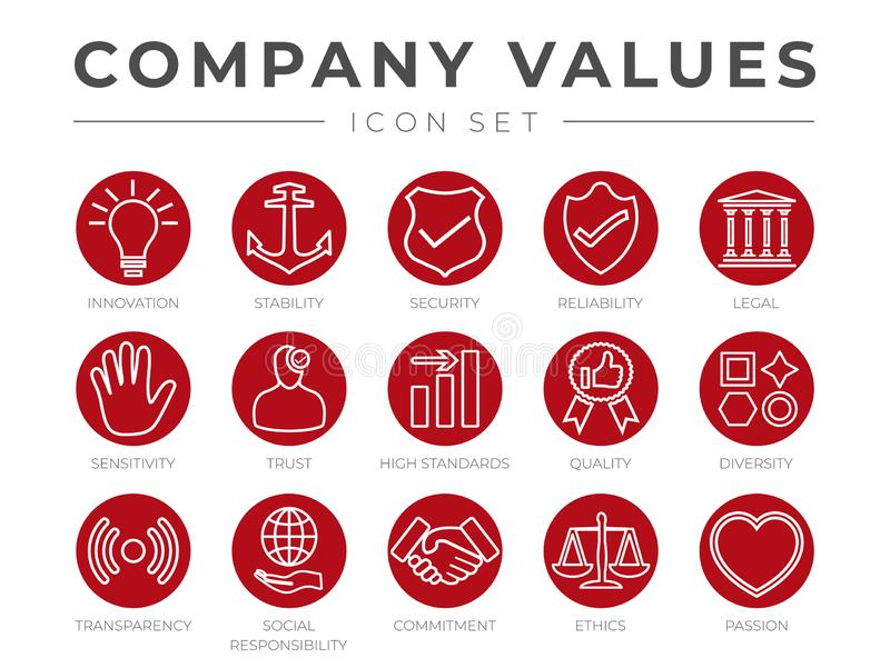 Business Company Core Values Outline Icon Set. Innovation, Stability, Security, Reliability, Legal and Sensitivity, Trust, High royalty free illustration