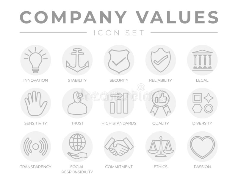 Business Company Core Values Outline Light Gray Icon Set. Innovation, Stability, Security, Reliability, Legal and Sensitivity, royalty free illustration