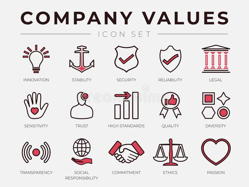 Business Company Core Values Retro Outline Line Icon Set with Color Icons royalty free illustration