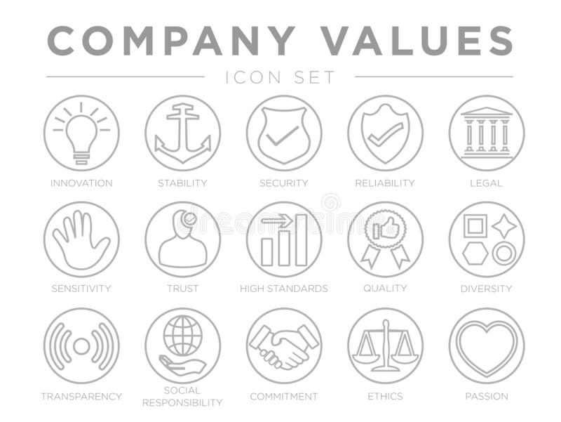 Business Company Core Values Round Outline Icon Set. Innovation, Stability, Security, Reliability, Legal and Sensitivity, Trust, royalty free illustration
