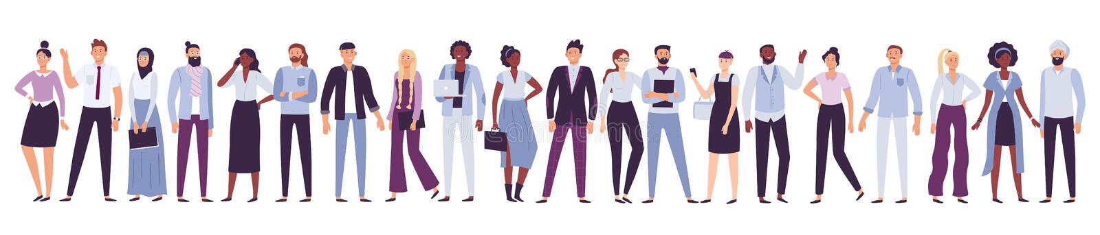 Business company people. Office team, multicultural collective workers group and businessman community vector. Business company people. Office team royalty free illustration