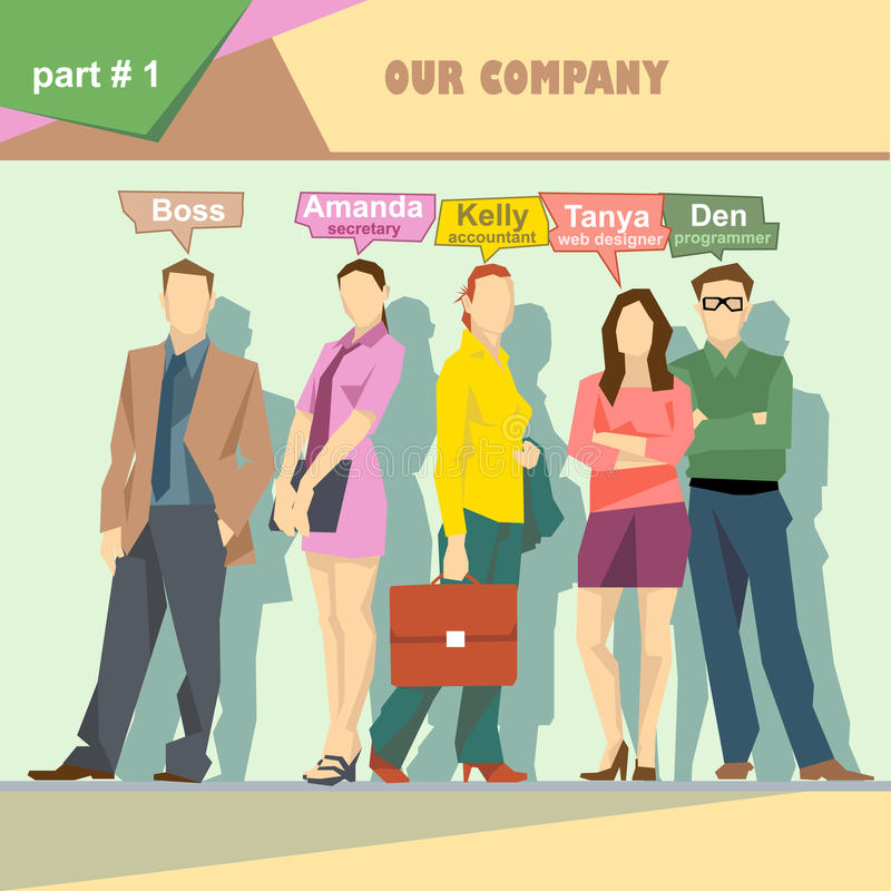 Business company roles situation infographics with boss, secretary, accountant, web designer and programmer. Digital vector image stock illustration