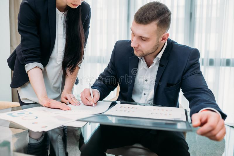 Business company secretary boss assistant office stock photos