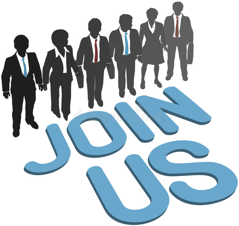 Business company team Join Us. Recruiting invitation to join company corporation business team vector illustration