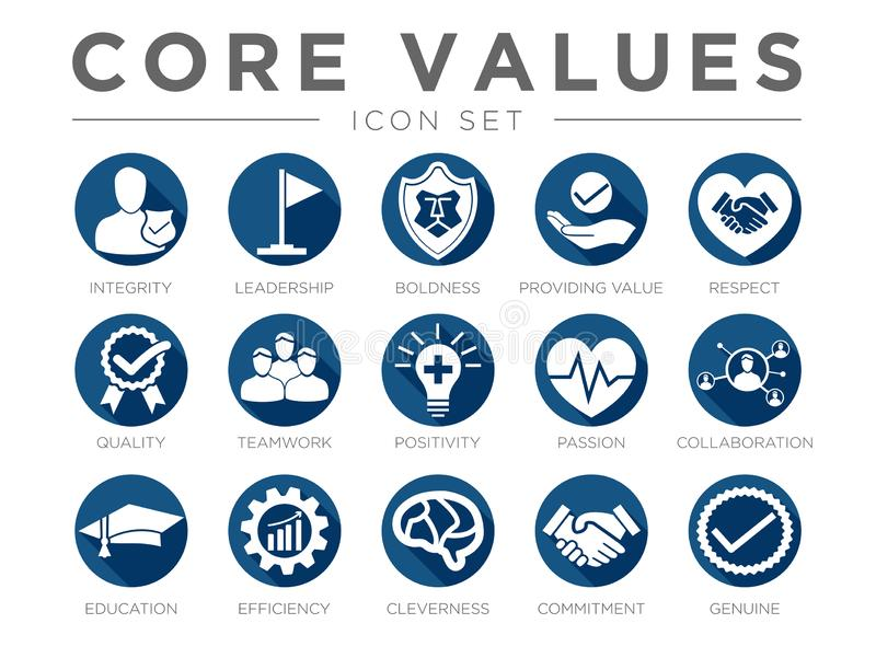 Business Company Values Flat Round Icon Set. Integrity, Leadership, Boldness, Value, Respect, Quality, Teamwork, Positivity,. Business Company Values Flat Round vector illustration