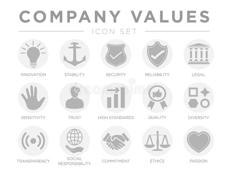 Business Company Values Gray Light Icon Set. Innovation, Stability, Security, Reliability, Legal, Sensitivity, Trust, High. Standard, Quality, Diversity vector illustration