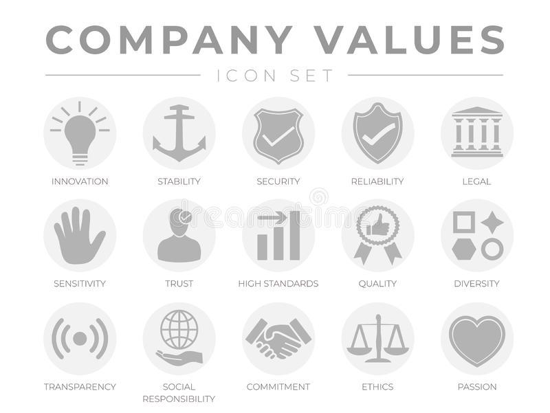 Business Company Values Gray Light Icon Set. Innovation, Stability, Security, Reliability, Legal, Sensitivity, Trust, High vector illustration
