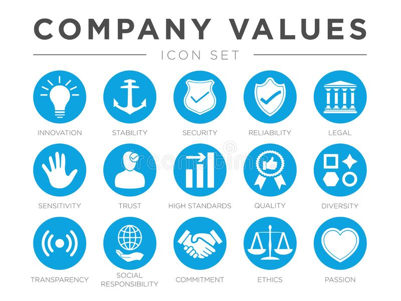 Business Company Values icon Set. Innovation Stability Security, Reliability Legal, Sensitivity Trust and High Standard. Quality with Diversity and royalty free illustration
