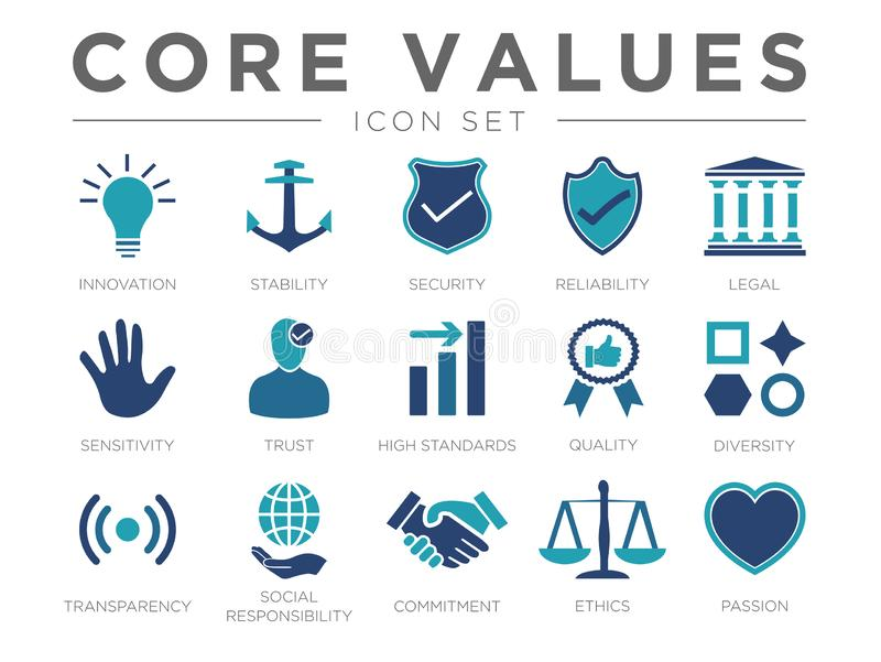 Business Company Values icon Set. Innovation, Stability, Security Reliability Legal Sensitivity Trust High Standard, Quality, Diversity, Transparency, Social stock illustration