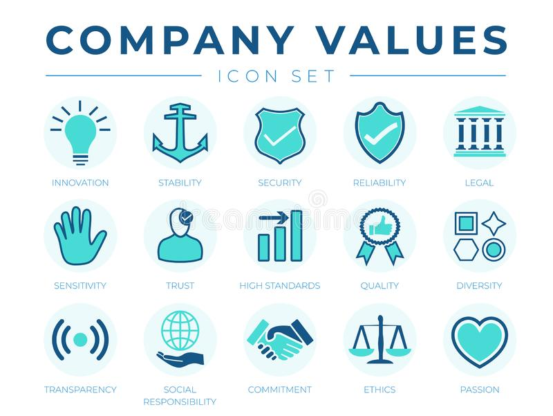 Business Company Values icon Set. Innovation, Stability, Security, Reliability, Legal, Sensitivity, Trust, High Standard, Quality stock illustration