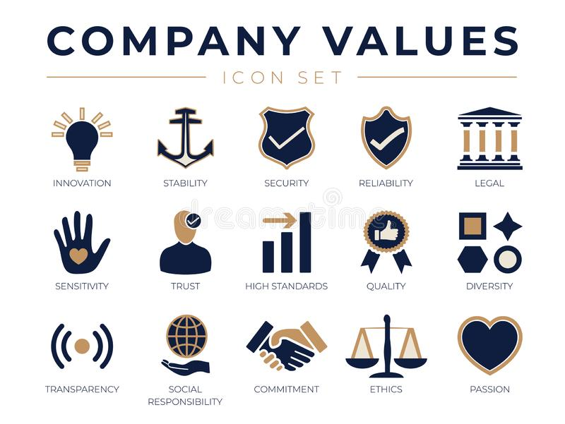 Business Company Values icon Set vector illustration
