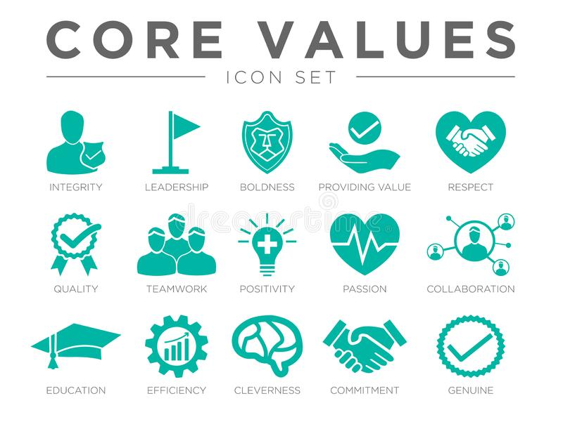 Business Company Values icon Set. Integrity, Leadership Boldness, Value, Respect, Quality, Teamwork Positivity Passion Collaboration Education Efficiency royalty free illustration
