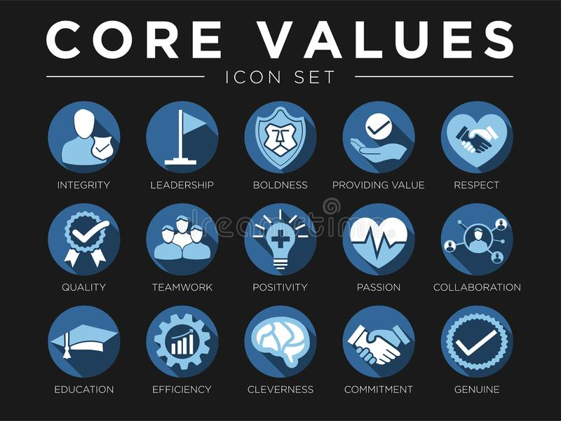 Business Company Values Icon Set. Integrity, Leadership, Boldness, Value, Respect, Quality, Teamwork, Positivity, Passion,. Business Company Values Icon Set vector illustration