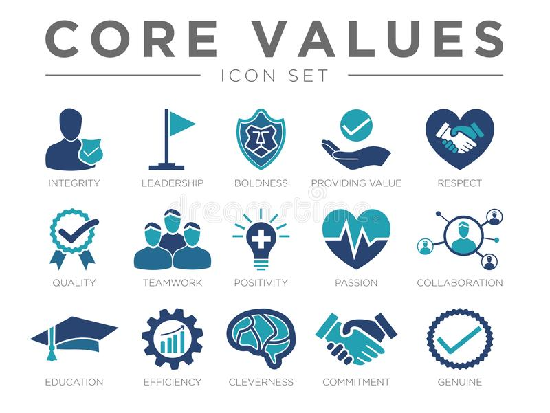 Business Company Values icon Set. Integrity Leadership, Boldness Value, Respect, Quality, Teamwork Positivity Passion Collaboration Education Efficiency vector illustration