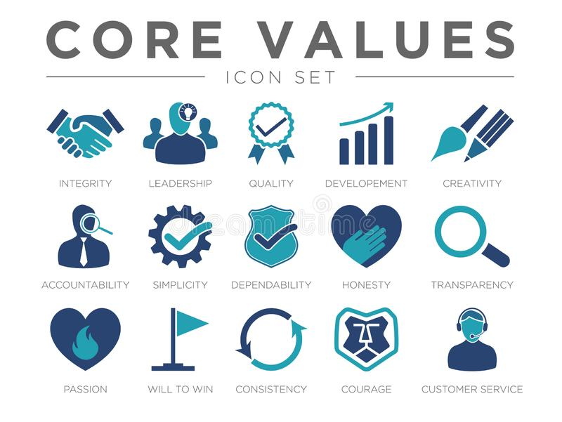 Business Company Values Icon Set. Integrity, Leadership, Quality and Development Creativity, Accountability, Simplicity, Dependability, Honesty, Transparency vector illustration