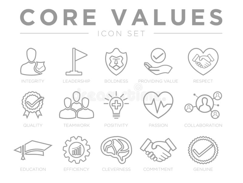 Business Company Values Outline Icon Set. Integrity, Leadership, Boldness, Value, Respect, Quality, Teamwork, Positivity, Passion. Business Company Values stock illustration