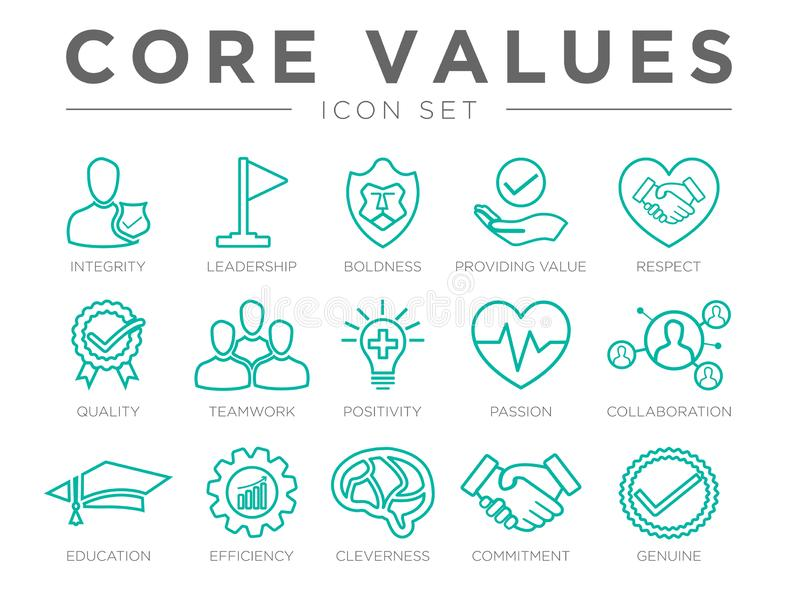 Business Company Values Outline Icon Set. Integrity, Leadership, Boldness, Value, Respect, Quality, Teamwork, Positivity, Passion. Business Company Values royalty free illustration