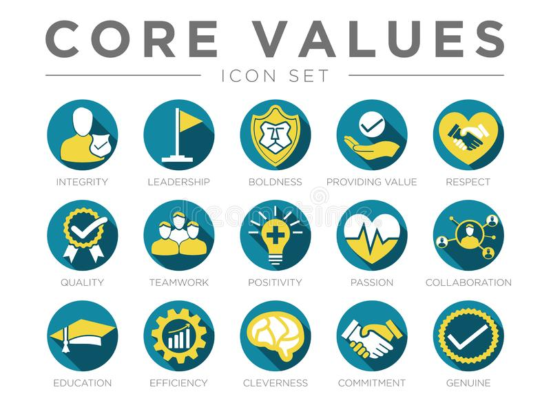 Business Company Values Round Color Icon Set. Integrity, Leadership, Boldness, Value, Respect, Quality, Teamwork, Positivity,. Business Company Values Round vector illustration